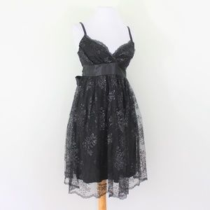 New Necessary Objects Black Lace Party Dress XS 0
